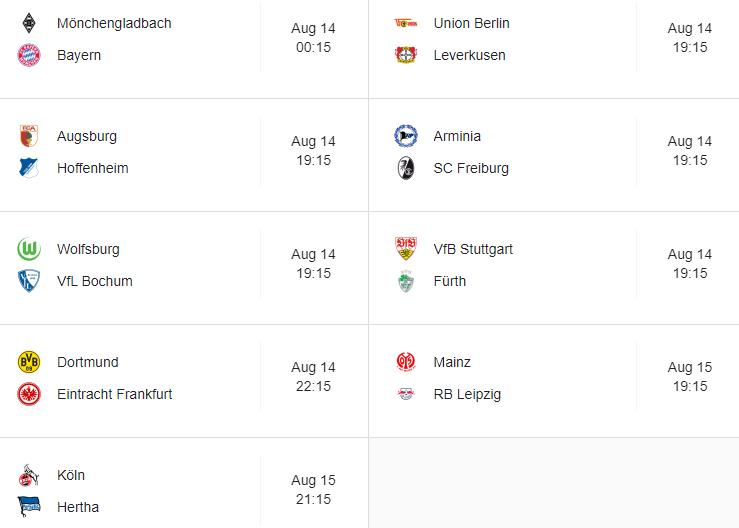 Bundesliga new season fixtures