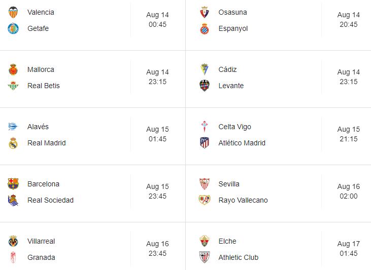 La Liga New Season Fixtures
