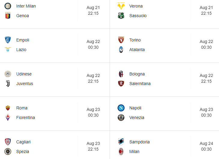 Serie A fixtures 2021/22