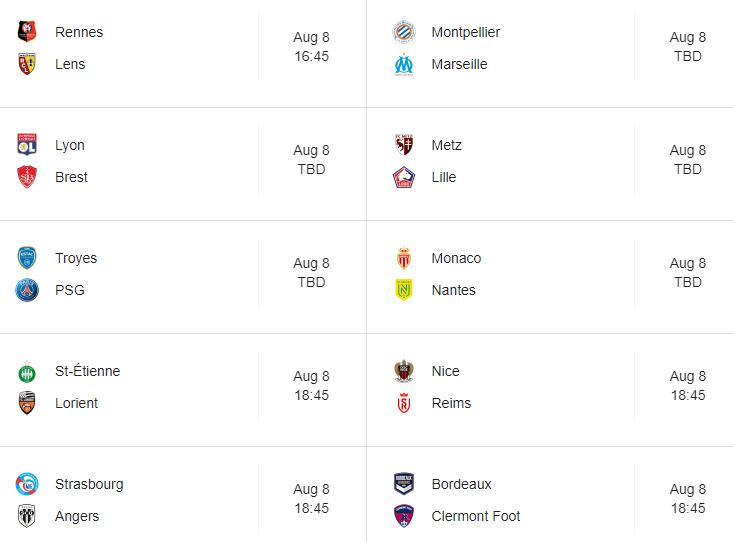 Ligue 1 fixtures 2021/22